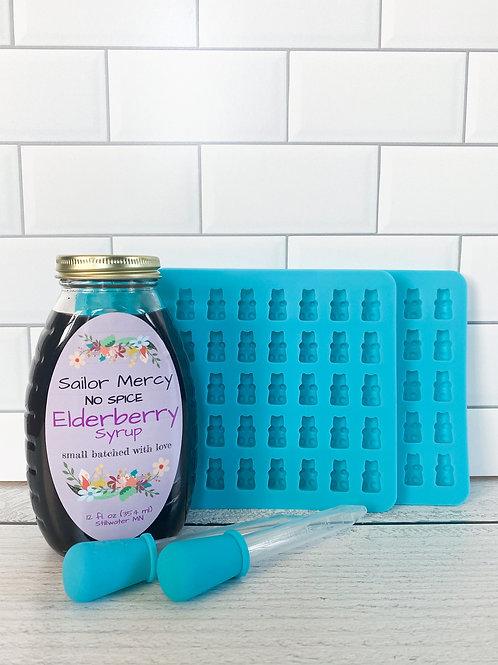 No Spice Elderberry Syrup w/SET OF 2 DIY Gummy Molds