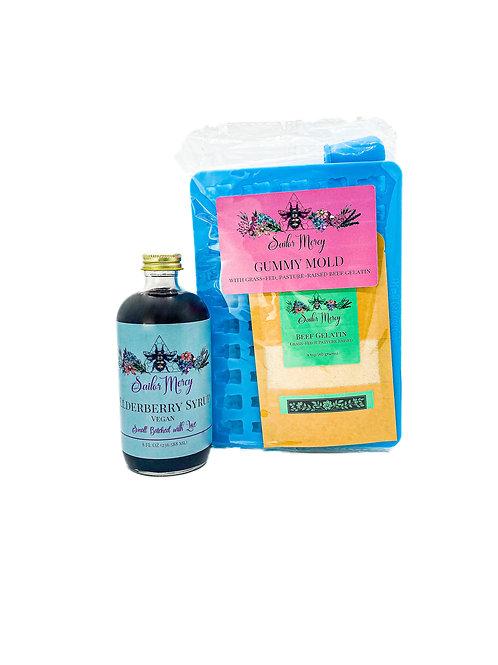 8oz Vegan Elderberry Syrup with Gummy Mold and Gelatin