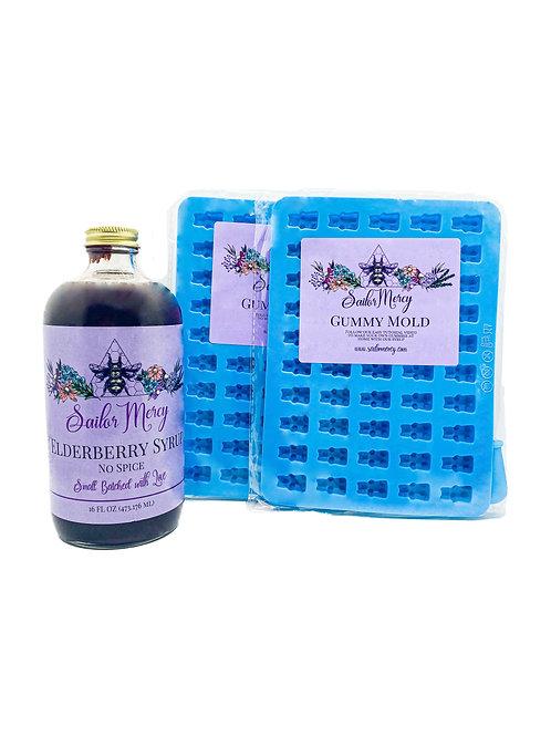 16oz No Spice Elderberry Syrup w/Set of 2 Gummy Molds