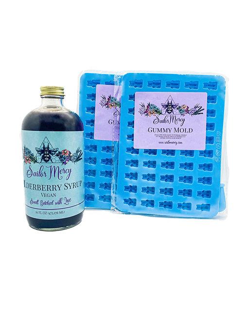16oz Vegan Elderberry Syrup w/Set of 2 Gummy Molds