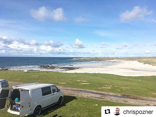 chrispozner (_get_repost)_・・・_Surfing at Ballevullin nice little waves only 3 of us out!