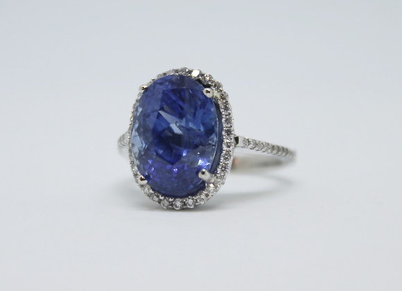 Blue Sapphire & Diamond Halo
