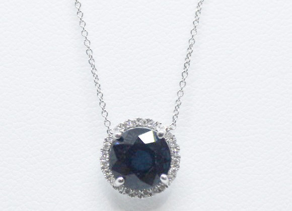 Blue Dark Sapphire and Diamond Bazel Necklace