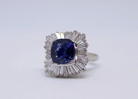 Platinum & Blue Sapphire Ballerina Ring