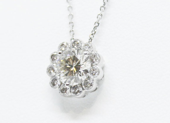 Single Diamond with Halo Necklace Design