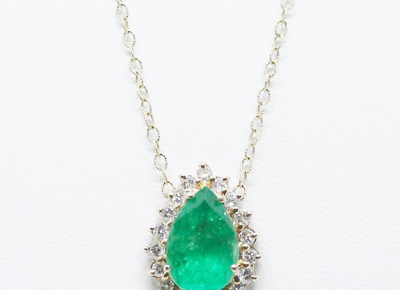 Emerald & Diamond Drop Necklace