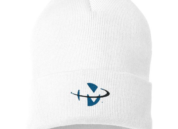 White Knit Cap W Logo