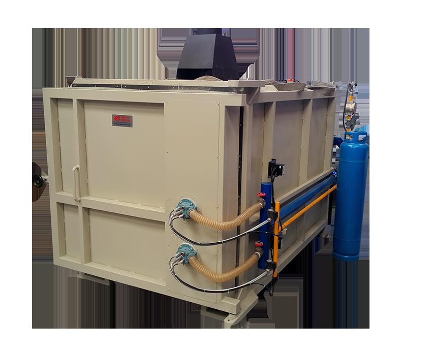 Horno a gas para el tratamiento de fibras