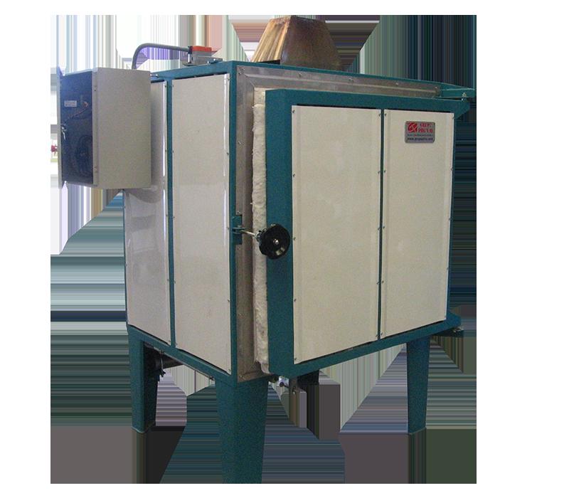 Horno eléctrico para tratamientos térmicos con chimenea y enfriamiento rápido