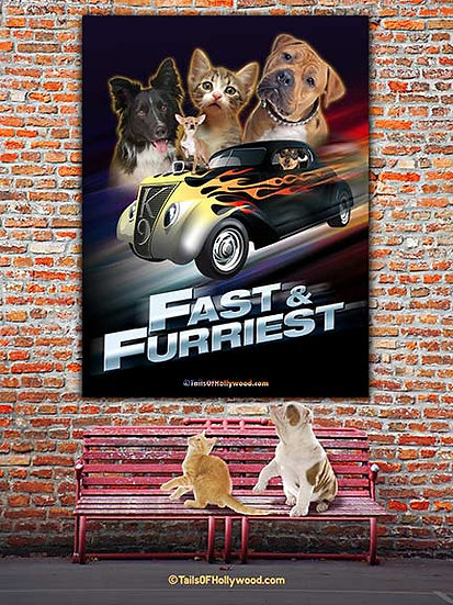 FAST and FURRIEST -BILLBOARD ON Brick Wall -DOGS and CATS