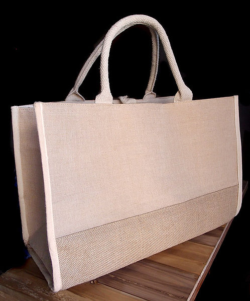 Jute Tote Bag with Cotton & Burlap Accents