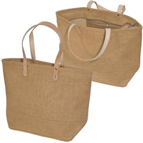 Jute Tote Bag Small with Leather Handles