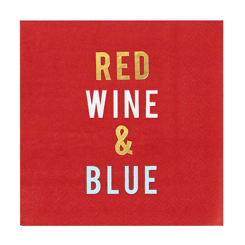 Cocktail Napkins -Red Wine & Blue