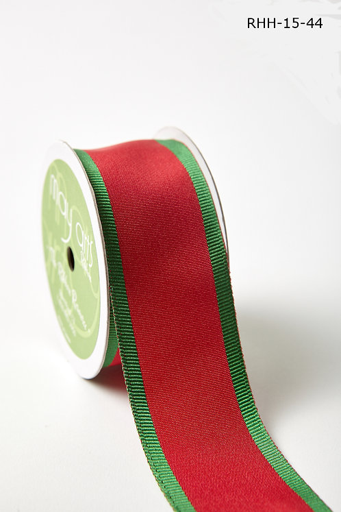 "Ribbon - 1.5"" Red/Green Grosgrain Banded Edge"
