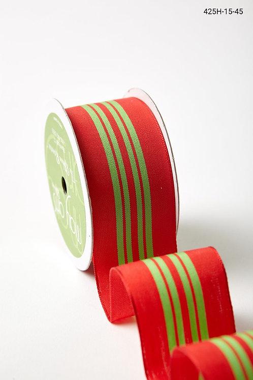 "Ribbon - 1.5"" Red/Green Center Stripe"