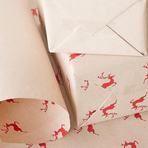 Prancer Kraft Paper Gift Wrap