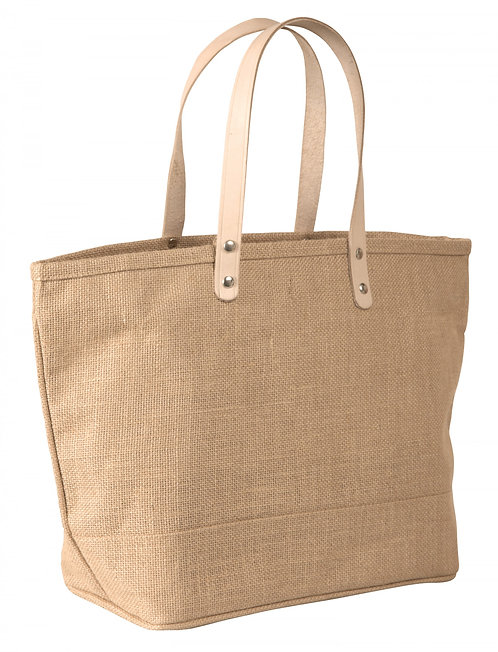 Jute Tote Bag Large with Leather Handles