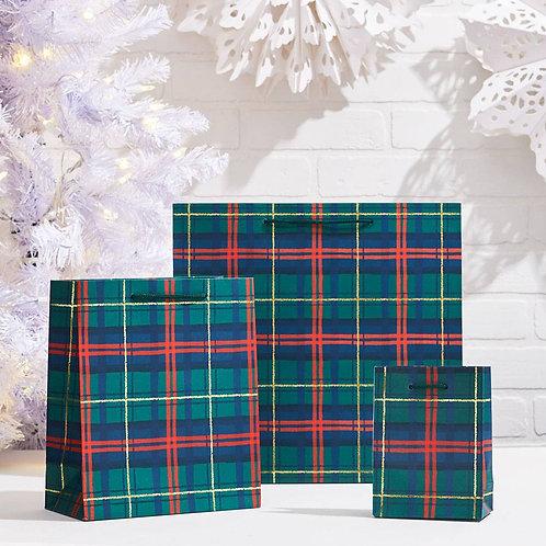 Holiday Plaid Foil Medium Bag