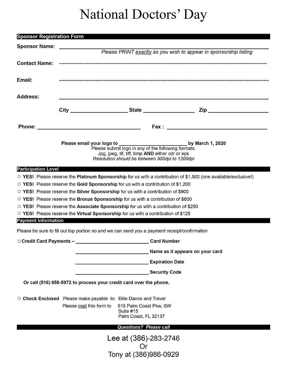 National Doctors' Day Red Carnation Ball Sponsorship Form