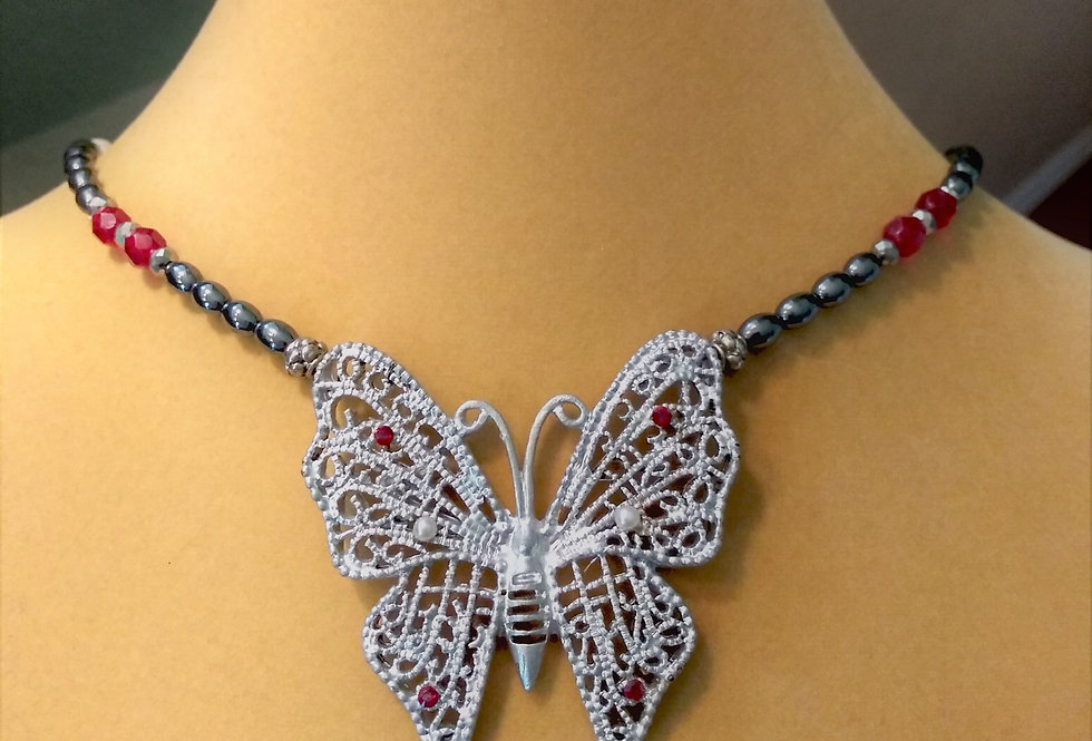 Butterfly Necklace with Hematite