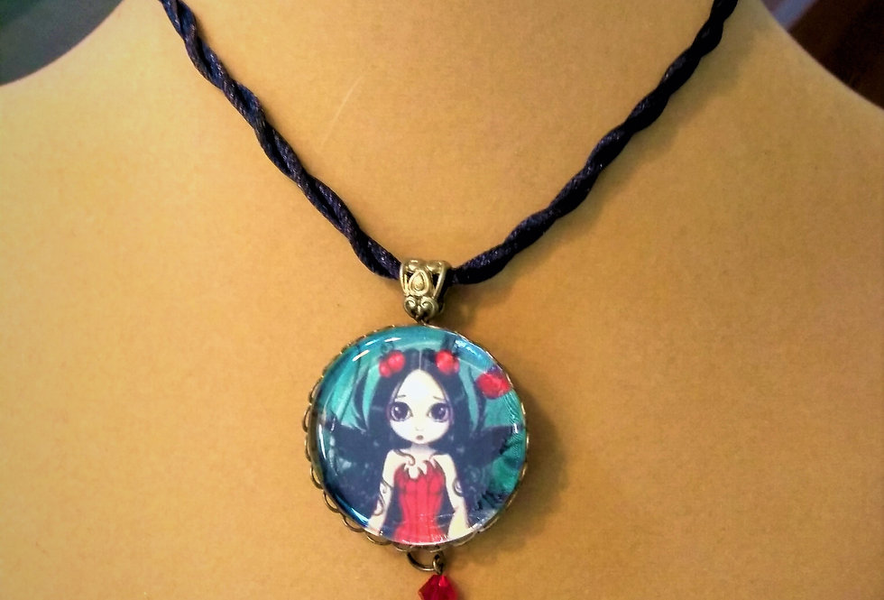Girl Pendant Necklace with Ribbon