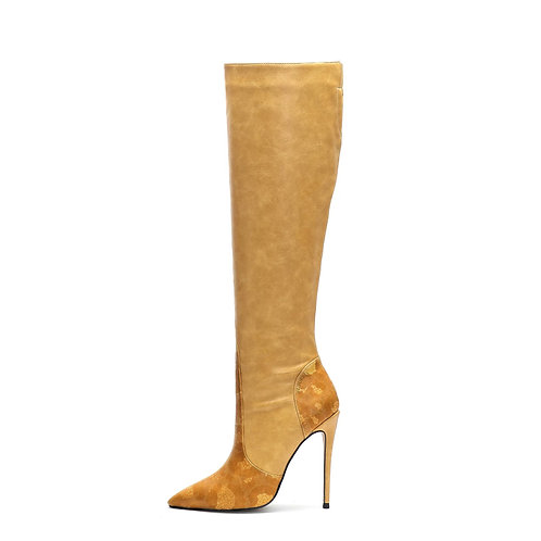 Sasha Cream Signature Knee-High Boots