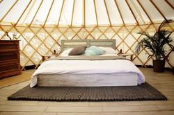 Inside olive blossom yurt