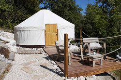 Subtle truffle yurt and front deck