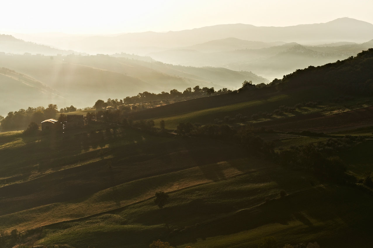 View across Caprafico valley at dawn