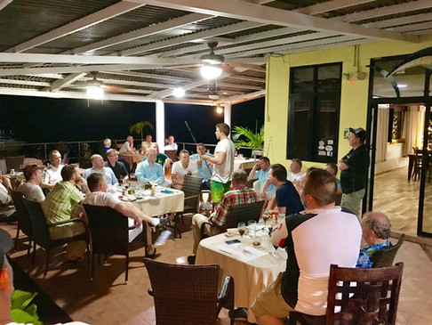 Group dining experience at panama sport fishing lodge