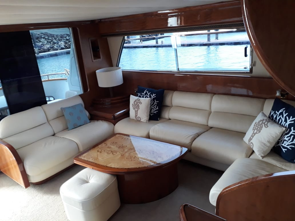 interior of 70ft moiari yacht charter in panama