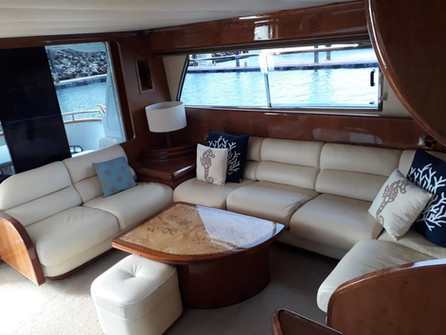 interior of 70ft moiari yacht charter in panama