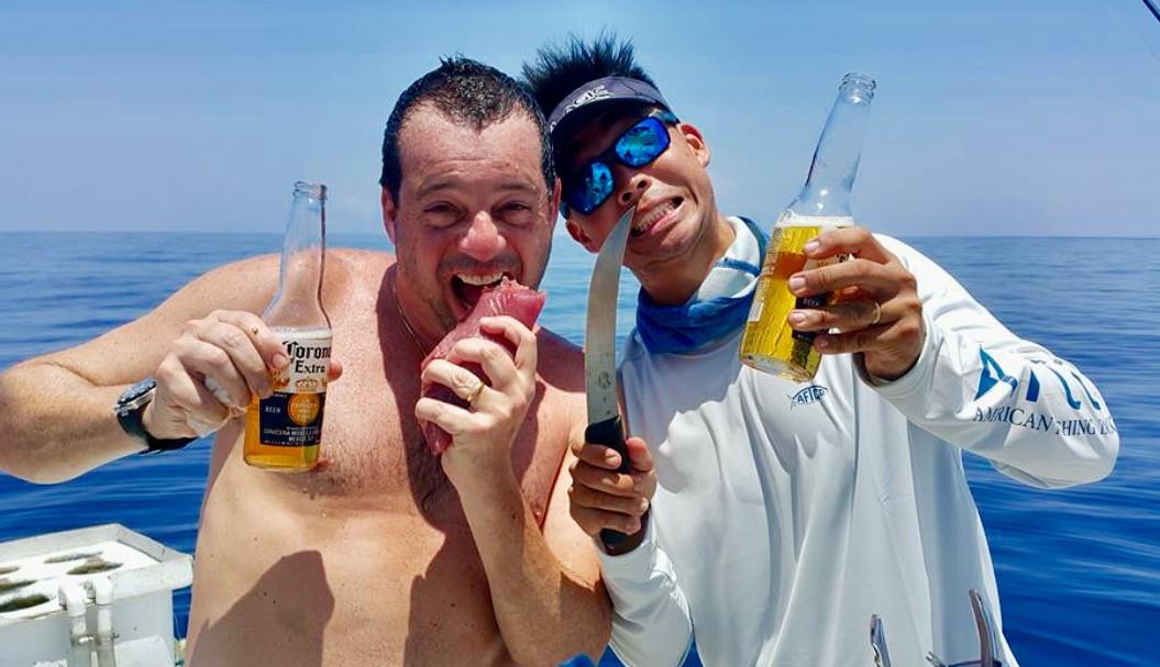 beers and raw tuna in panama