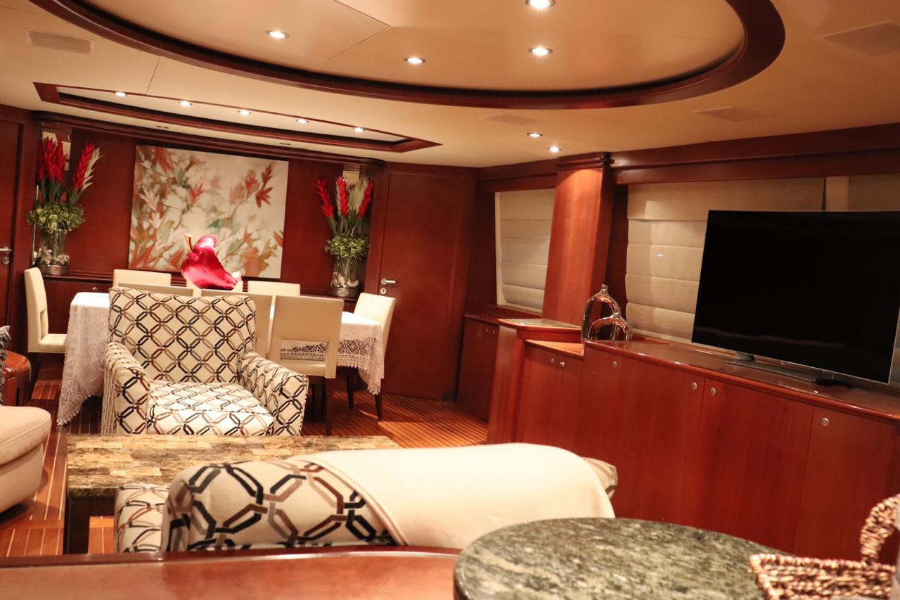 interior of 100ft azimut yacht charter in panama