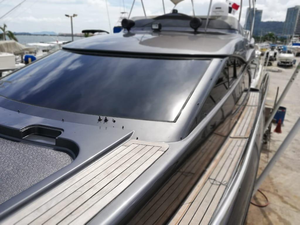 side deck of 52ft astondoa rental in panama