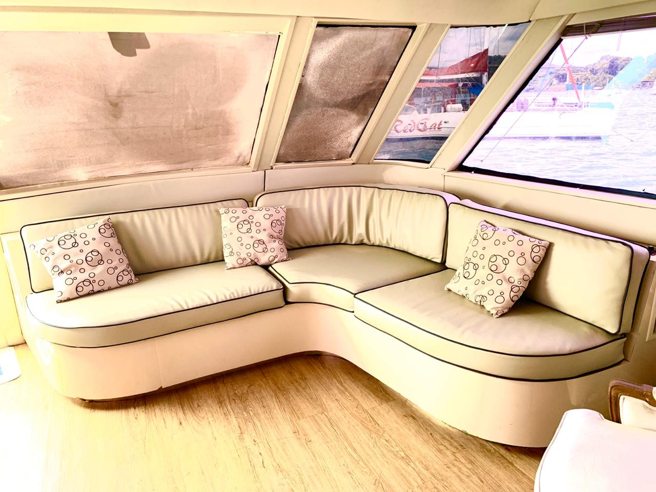 interior of 90ft broward yacht for charter in panama