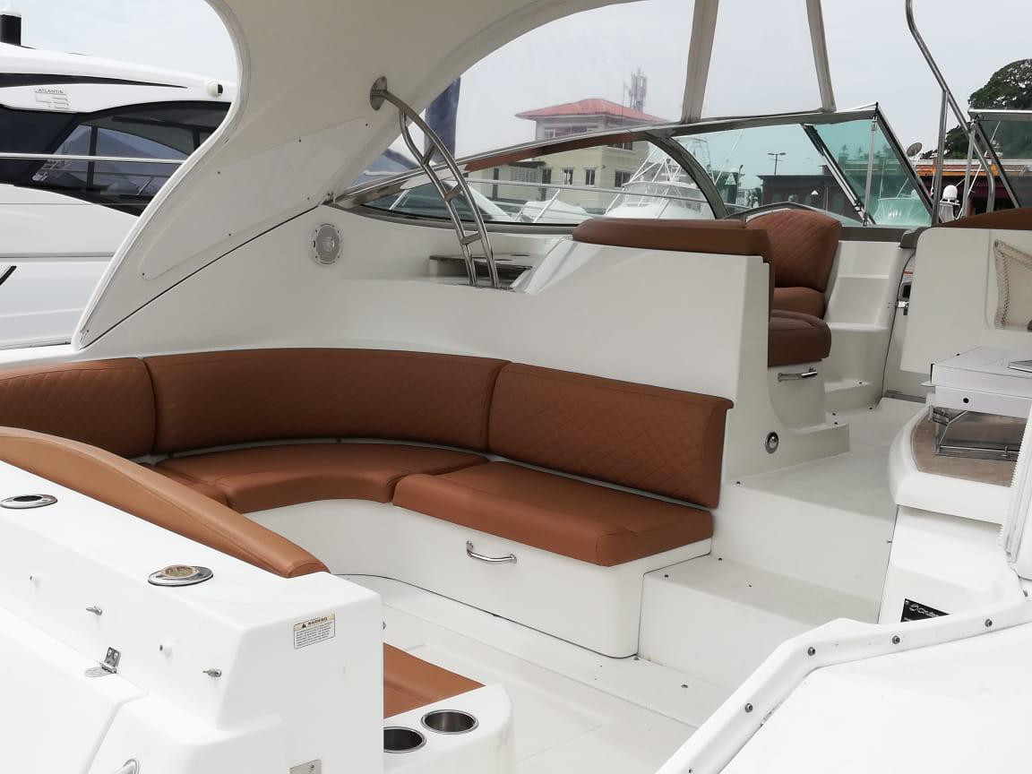 seating on 46ft cruiser for charter in panama