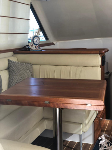 interior of the 33ft riviera for rental in panama