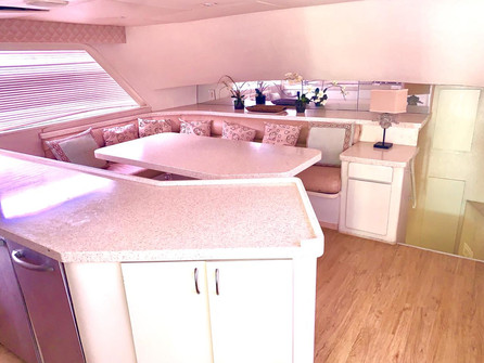 kitchen of 90ft broward yacht for charter in panama