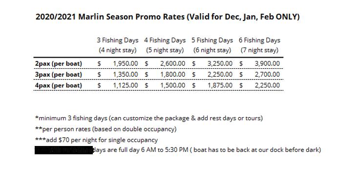 2020/2021 Marlin Season Promo Rates for Panama Sport Fishing Lodge