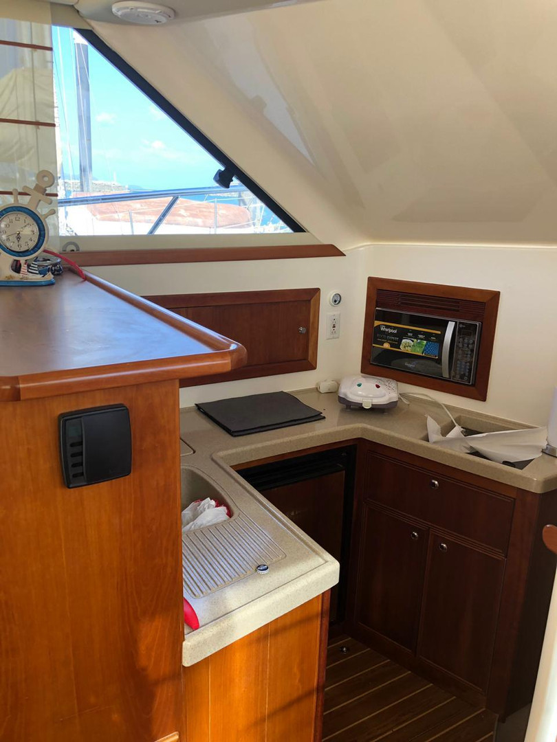 kitchen of the 33ft riviera for rental in panama