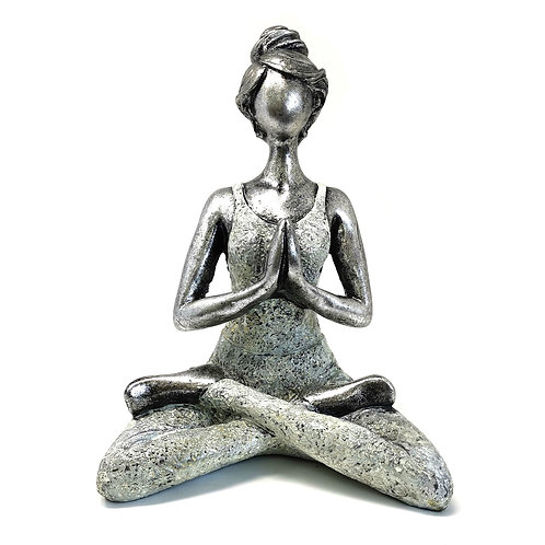 Eco Statue Yoga Argent