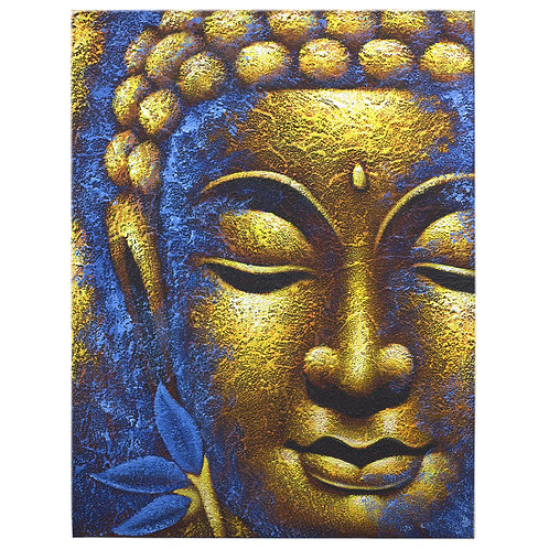 Eco Cadre Bouddha - Visage D'Or et Fleur de Lotus