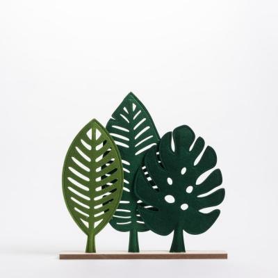 Eco feuille sur socle en bois
