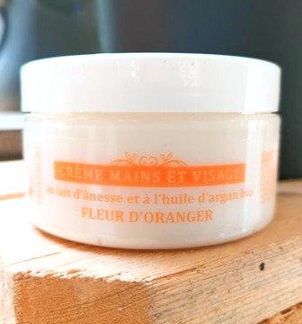 Eco Crème lait ânesse bio & huile d'argan bio  & fleur d'oranger
