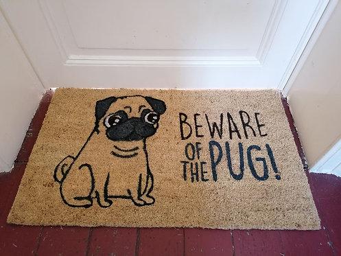 ECO Paillasson en fibre de coco - Beware of the pug! (Carlin)