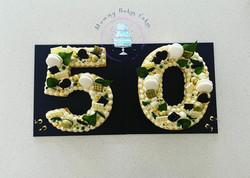 50th Cookie Cake Jungle Green Gold & Bla