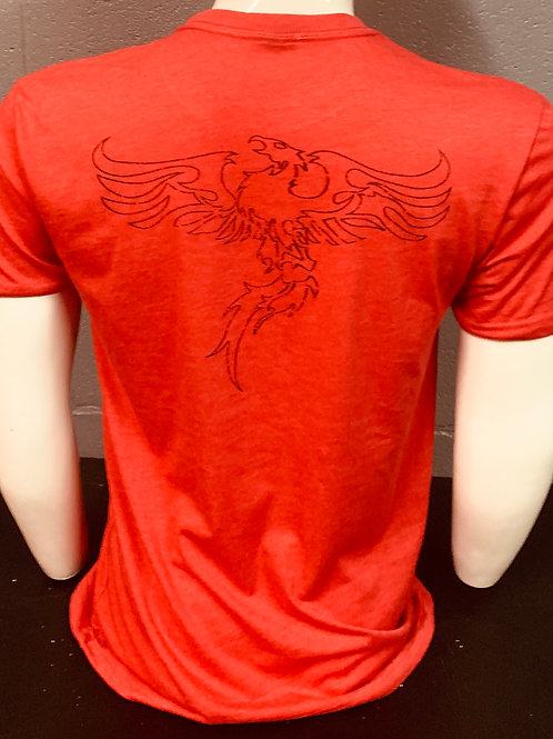 Rise Above Fitness Black on Red Basic Tee