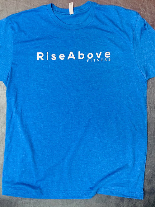 Rise Above Fitness White on Blue Basic Tee