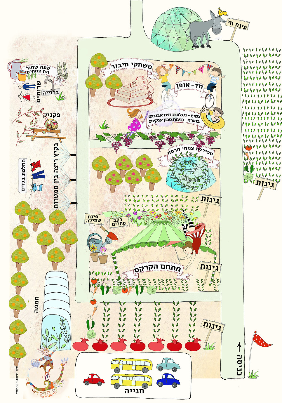 מפה ש הקרקס החקלאי אטרקציות ופעילויות לילדים ולכל המשפחה בצפון